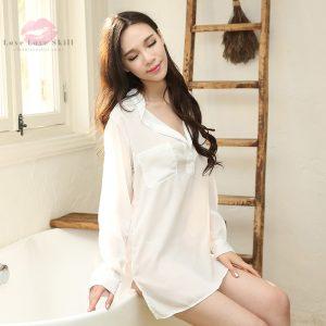 白襯衫家居睡裙· 高端雪紡舒適隨性性感家居睡衣套裝