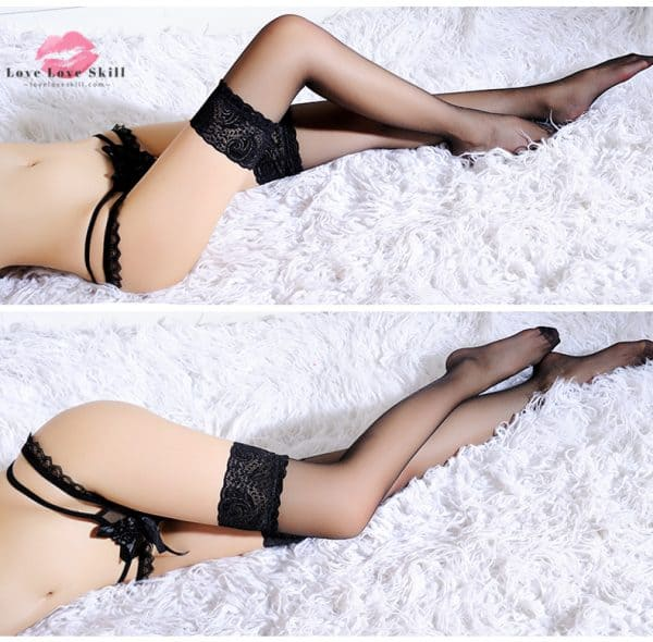 黑絲白絲 · 蕾絲花邊絲襪性感美腿長筒高筒襪